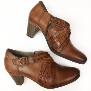 Pikolinos Burnished Brown Leather Zipper Booties